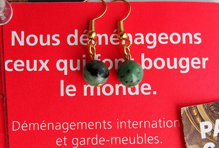 グリーンなマーブル石のピアス